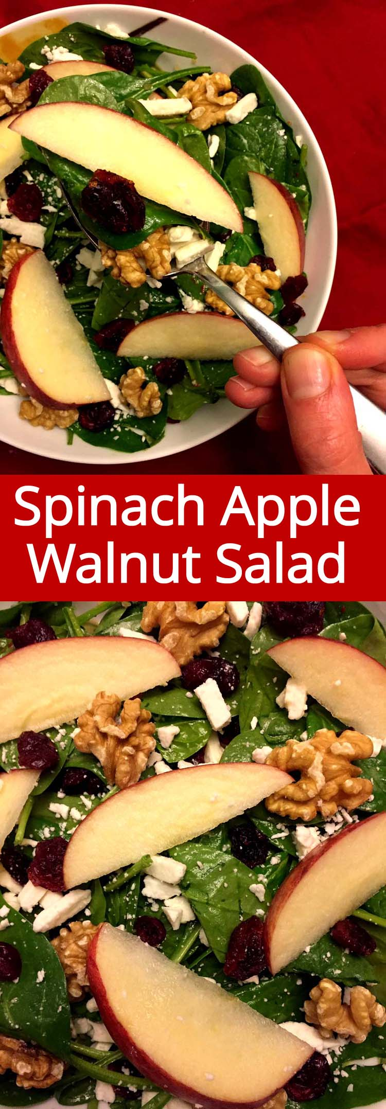 This spinach apple cranberry walnut salad is amazing! What a great combo, I love it!
