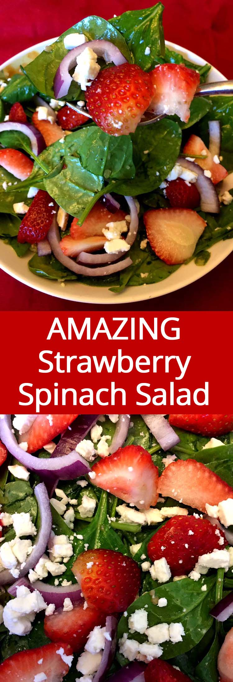 This strawberry spinach feta salad is amazing! So healthy, coloful and festive! I love this combo!