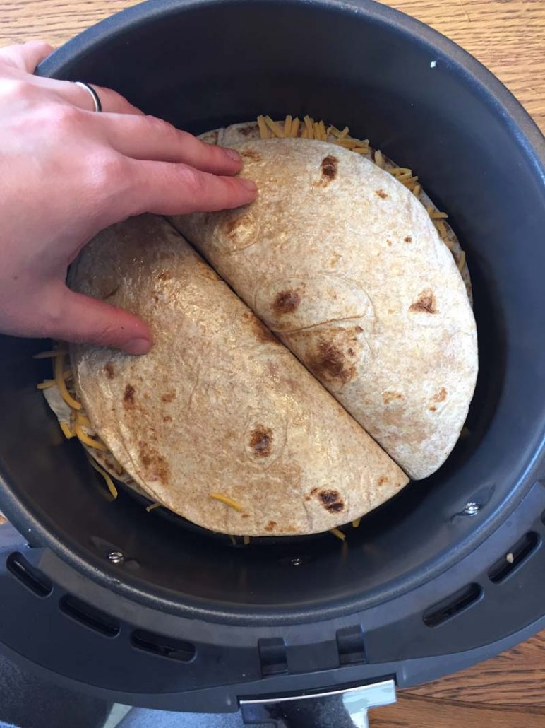 chicken quesadillas in the air fryer basket