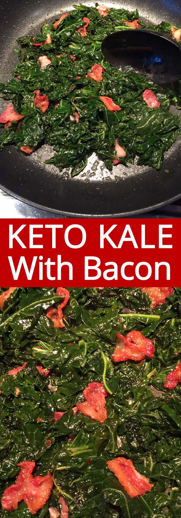 This sauteed kale with bacon is amazing! Perfect for keto, low-carb and gluten-free diet! So easy to make and so filling and yummy!
