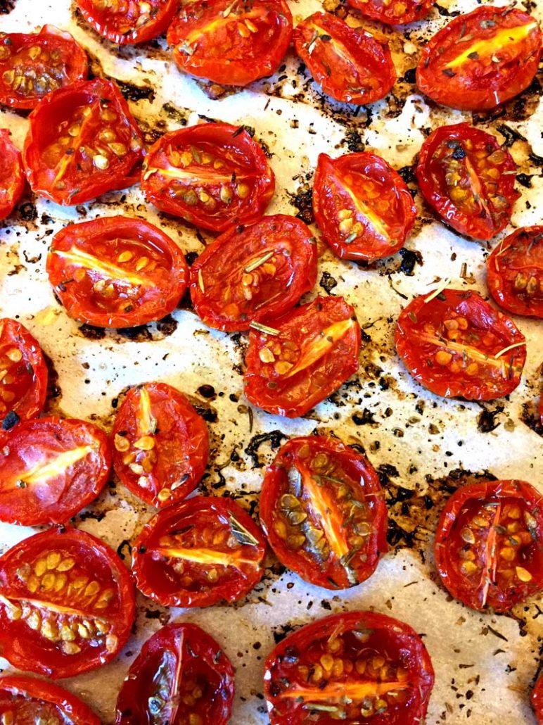 Cherry Tomatoes Roasting In The Oven