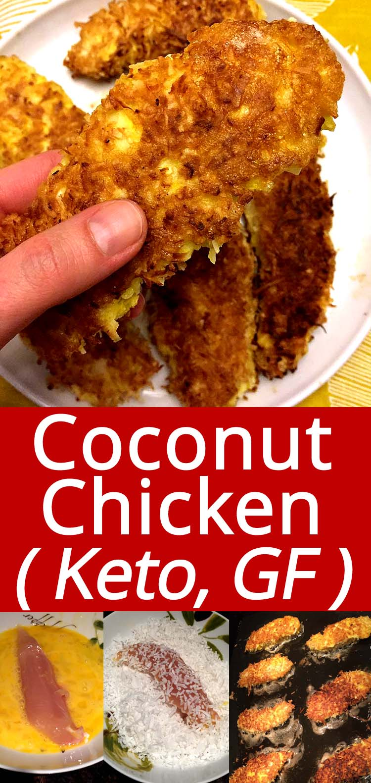 These coconut crusted chicken tenders are amazing! Keto, low-carb and gluten-free! So easy to make and taste mouthwatering, everyone loves them!