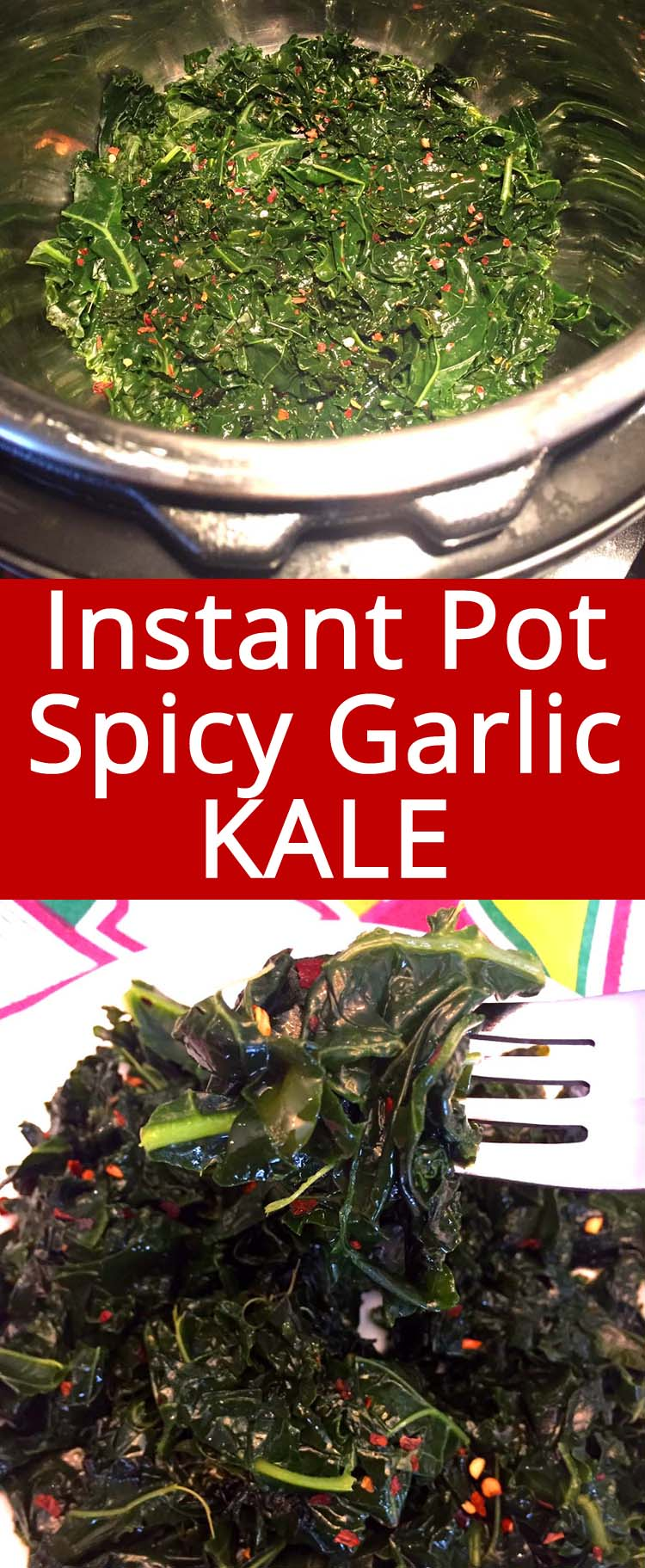 This Instant Pot kale is amazing! Cooking kale in the Instant Pot is so easy and it comes out perfect! Yummy and healthy!