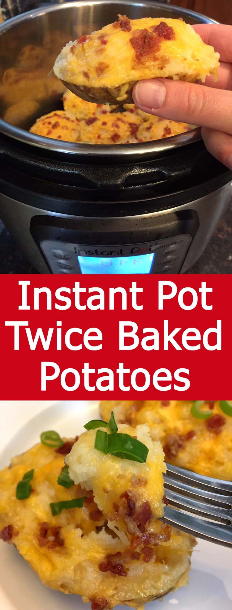 These Instant Pot twice baked potatoes are amazing! Made only using the Instant Pot, no oven needed! Twice as fast as the oven method! I love double baked potatoes!