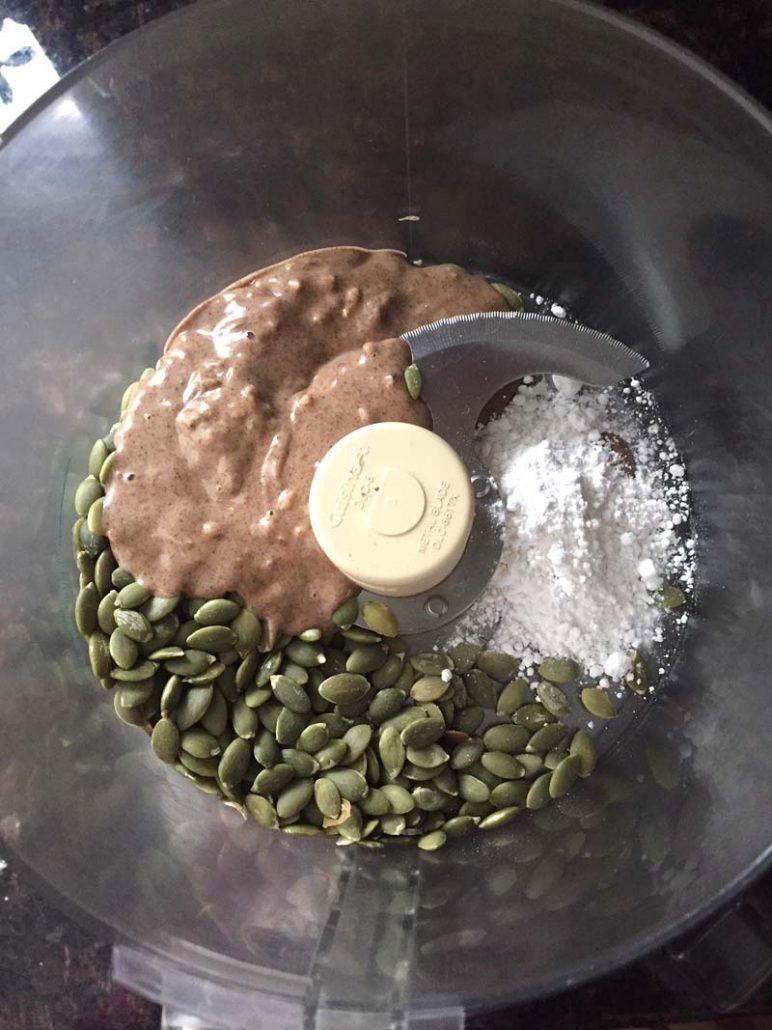 pumpkin seeds, almond butter and erythritol