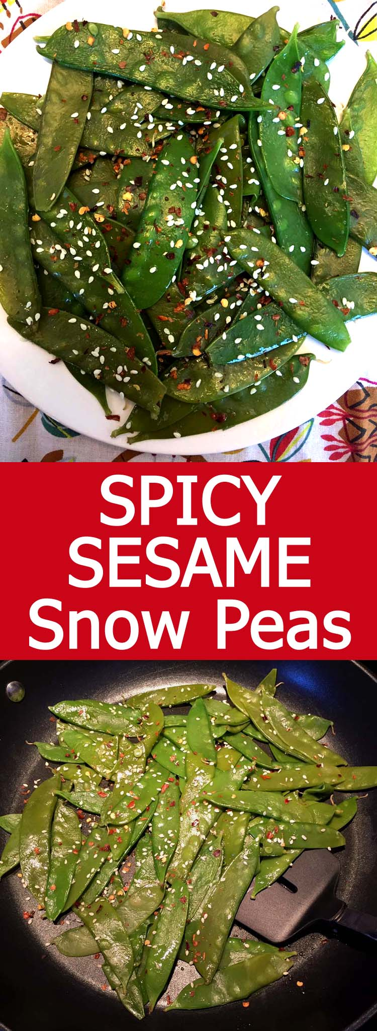 These sauteed sesame snow peas are so addictive! So spicy and garlicky! Super easy to make, healthy and delicious!