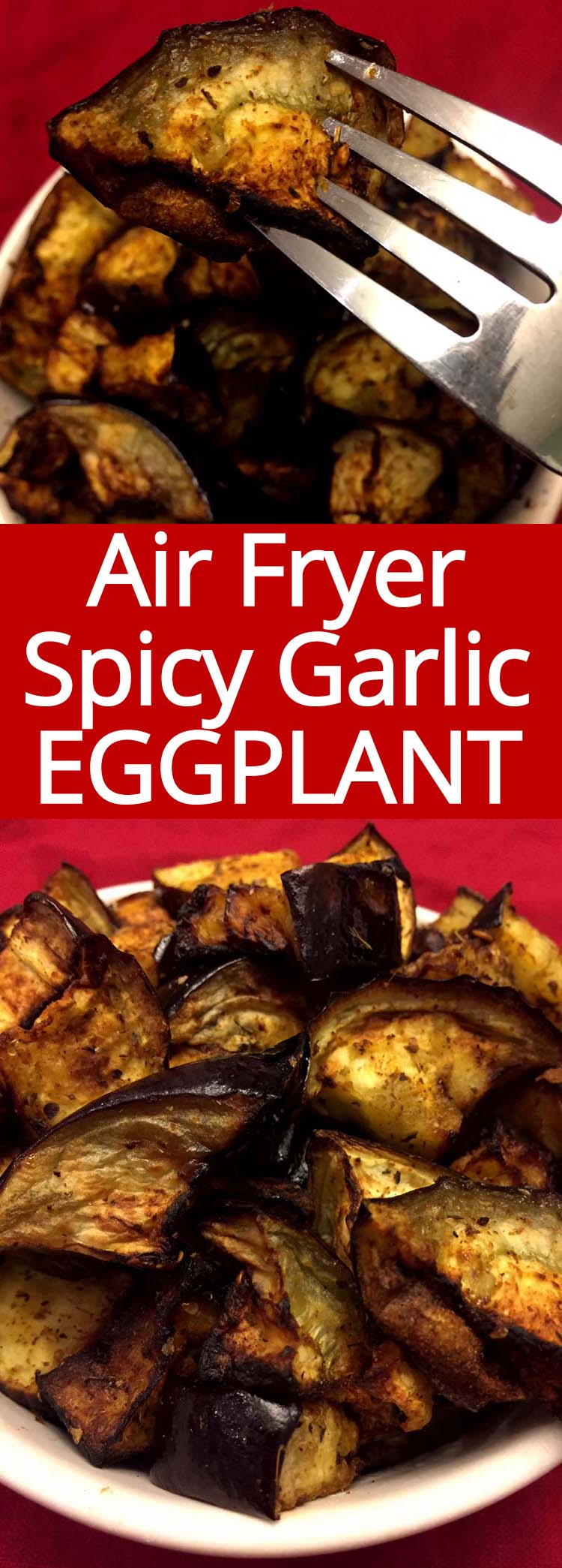 This air fryer eggplant is amazing! So crispy, spicy and garlicky! Very quick and easy to make in the air fryer, this eggplant is so addictive!