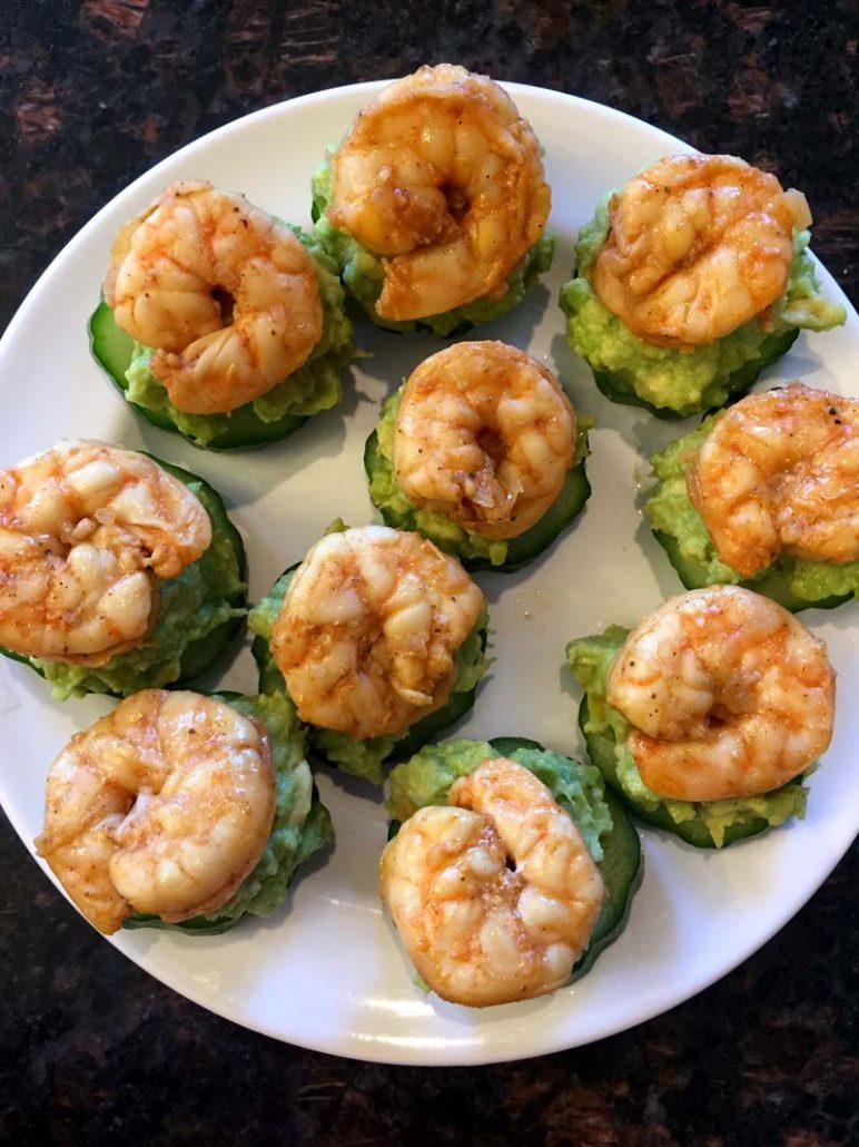 Shrimp Guacamole Cucumber Bites