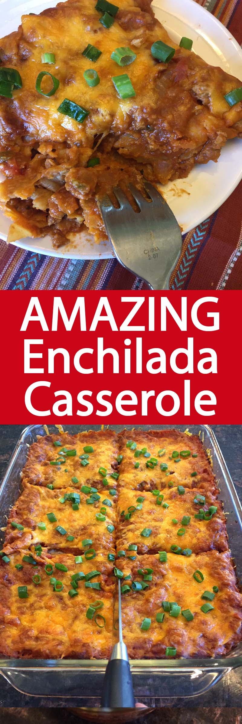 This easy Mexican enchilada casserole is amazing!  Made with ground beef, refried beans, salsa, corn tortillas and lots of shredded cheese! My mouth is watering!