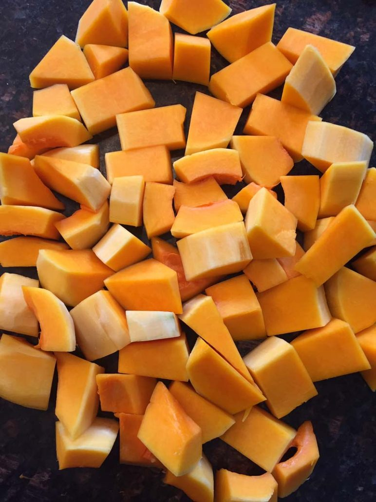 Butternut squash cut into chunks