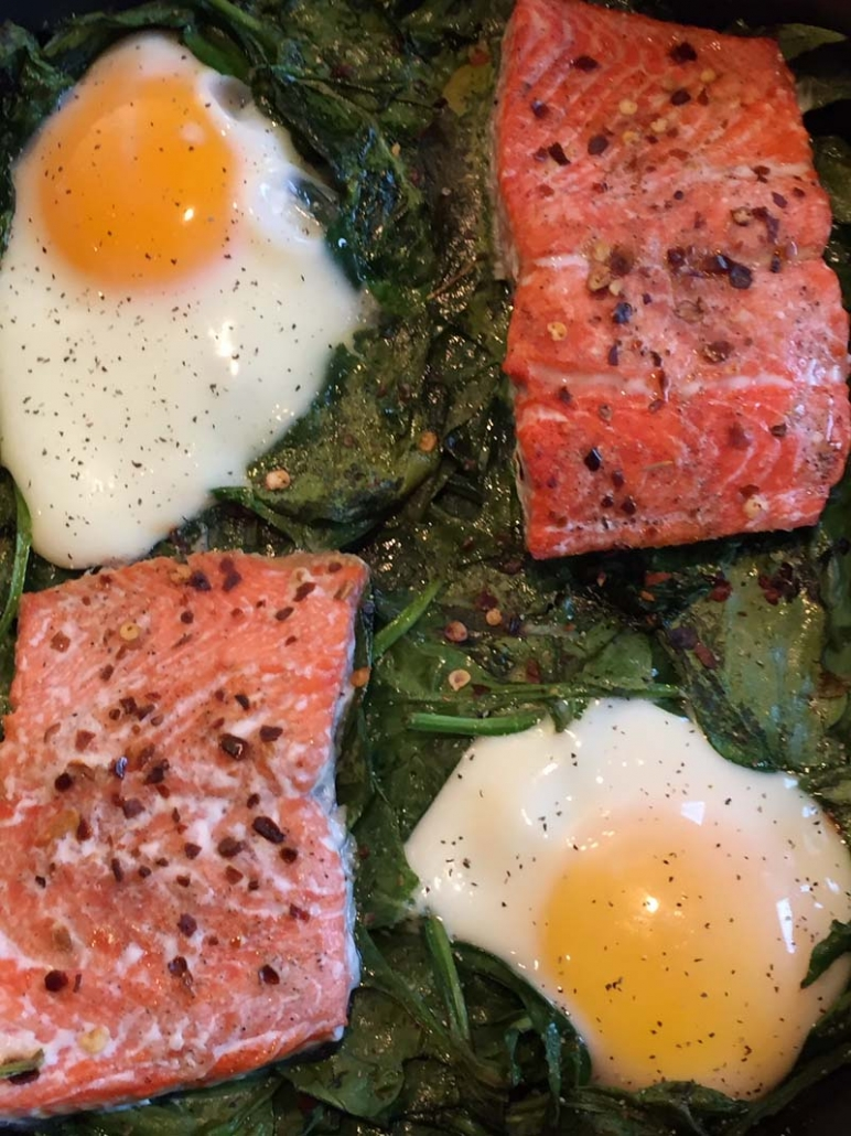 salmon eggs spinach brunch casserole