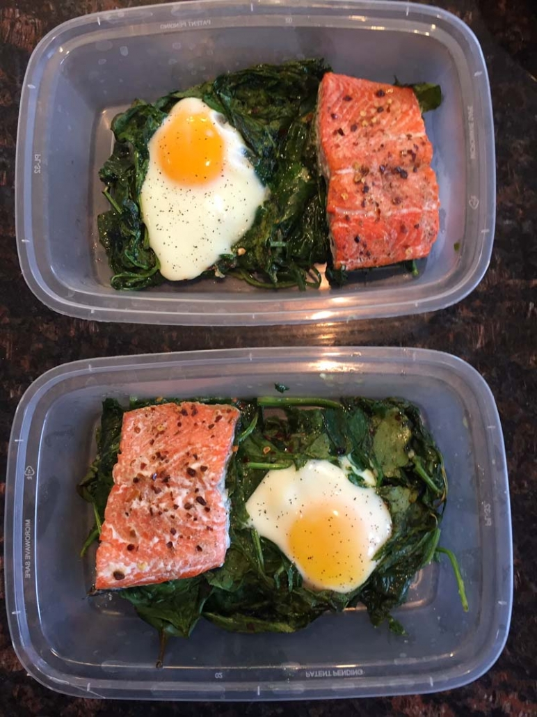 eggs baked with salmon and spinach