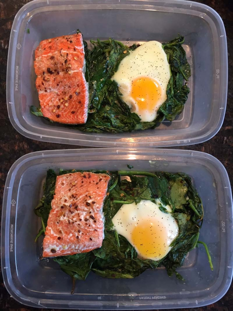 keto salmon spinach egg meal prep