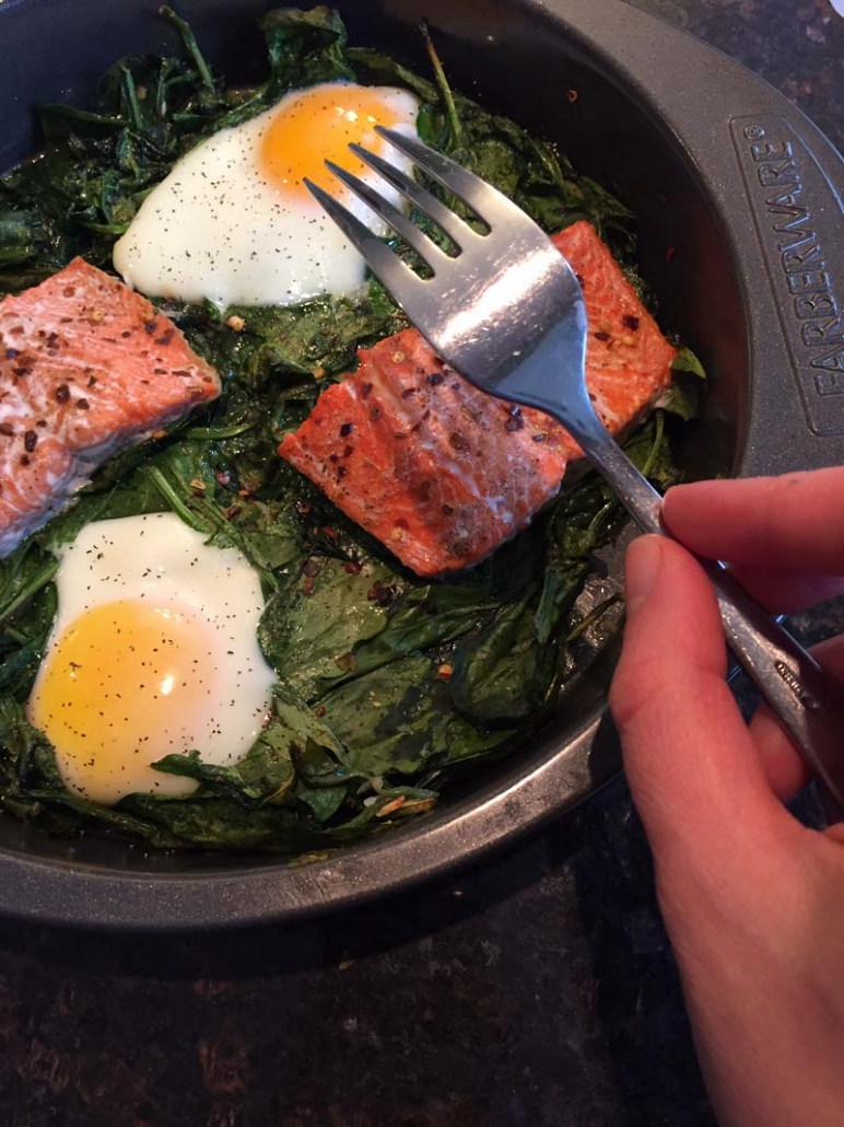 keto salmon spinach egg brunch