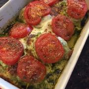 Keto Chicken Pesto Mozzarella Casserole