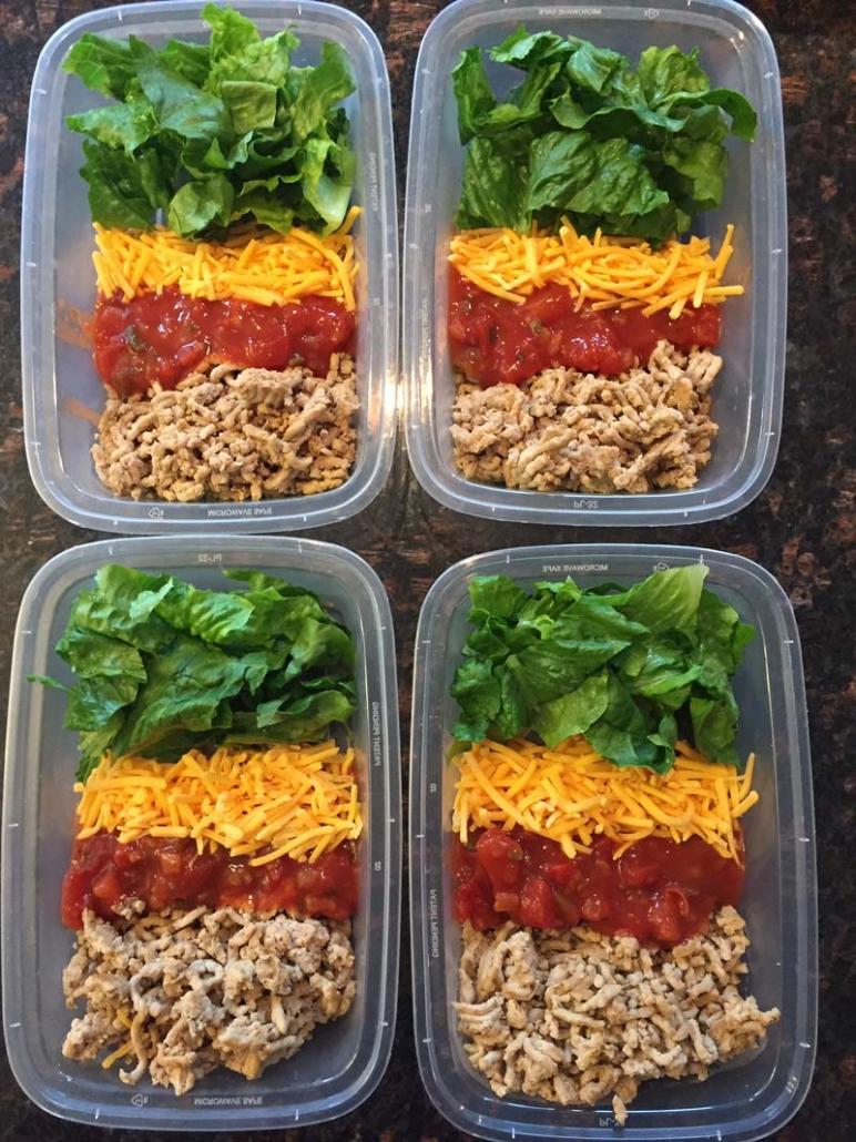 keto diet taco salad meal prep