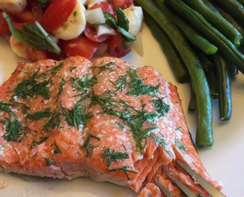 Tender Baked Salmon At Low Temperature