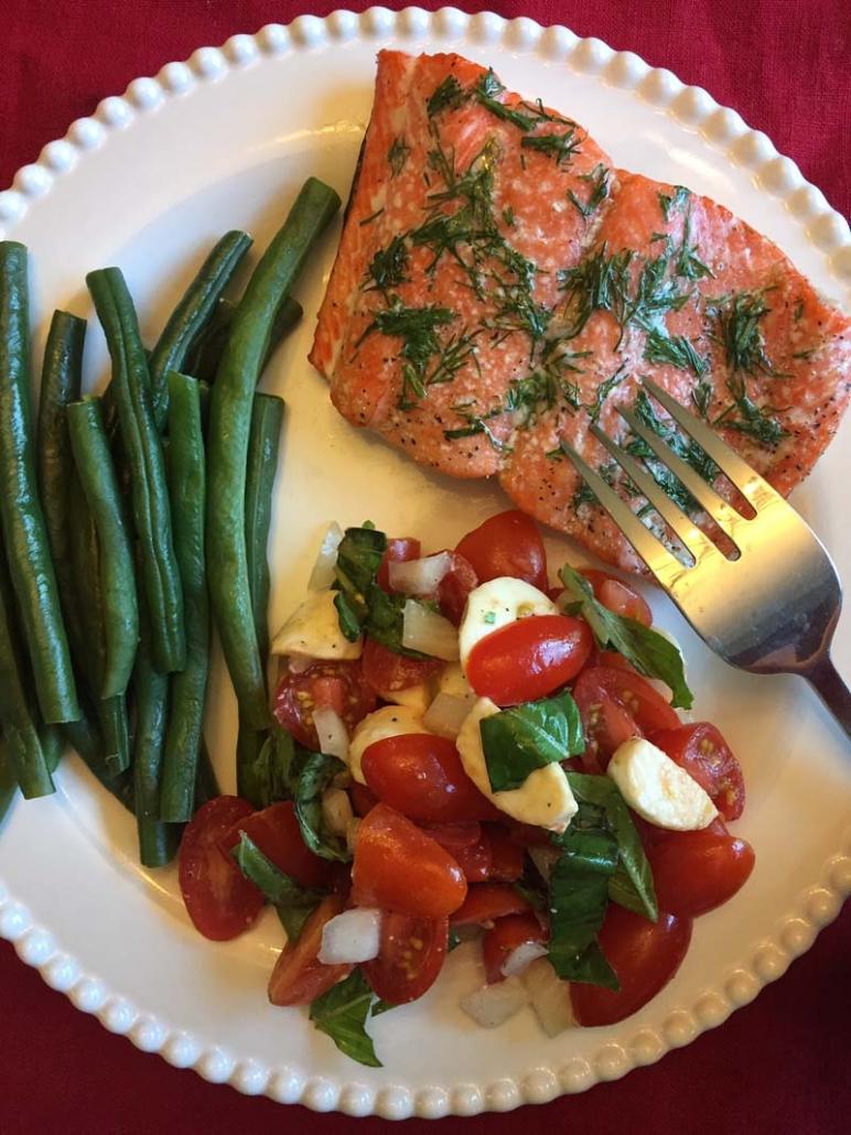 slow baked salmon dinner