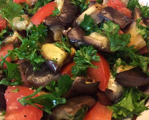 roasted eggplant salad with tomatoes