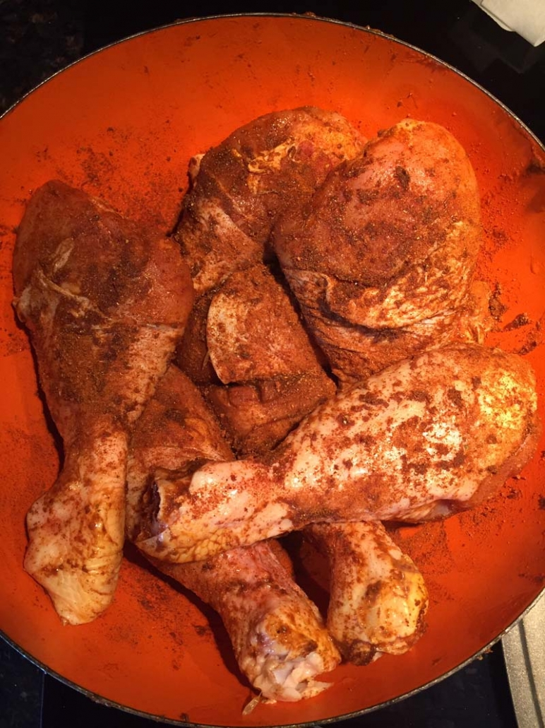 chicken legs coated with spices