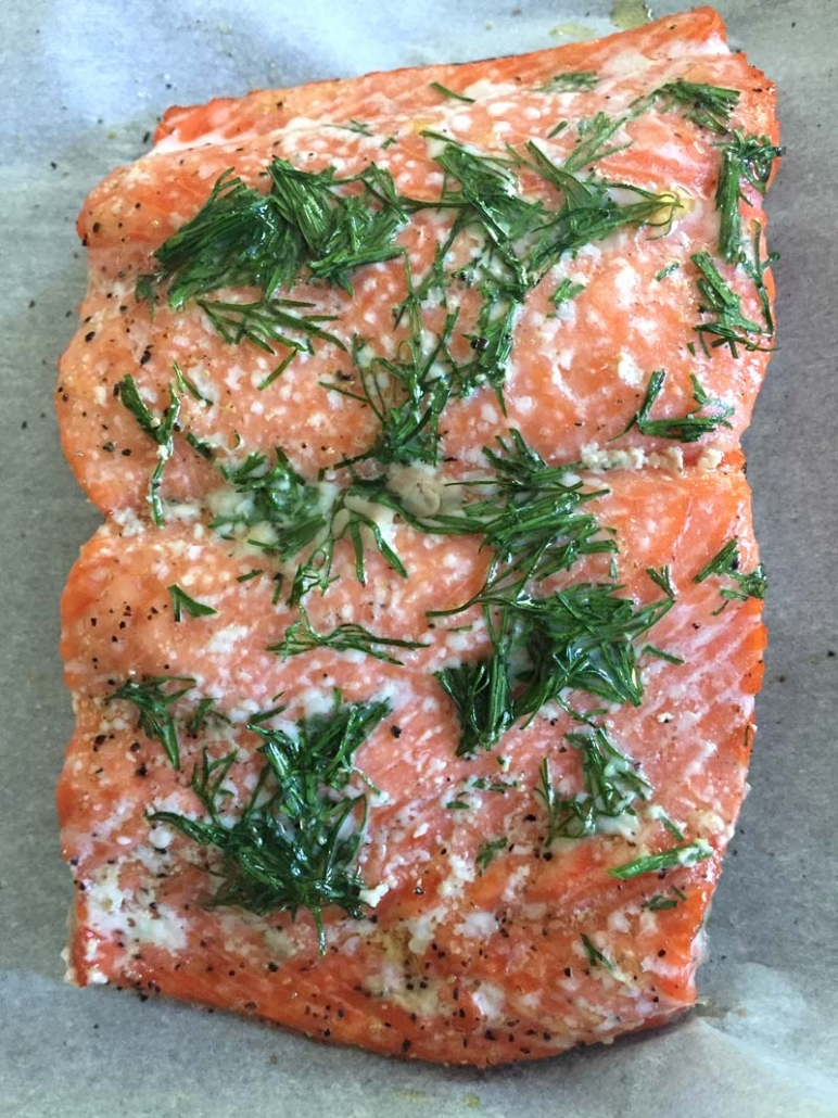 salmon baked at low temperature