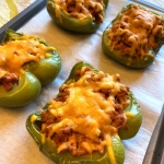 Baked Turkey Stuffed Bell Pepper Halves (Keto)