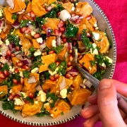 Pomegranate Sweet Potato Feta Salad