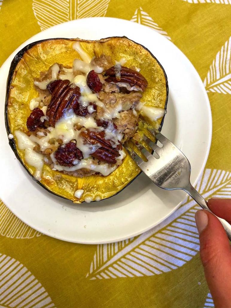 Acorn Squash With Turkey Stuffing