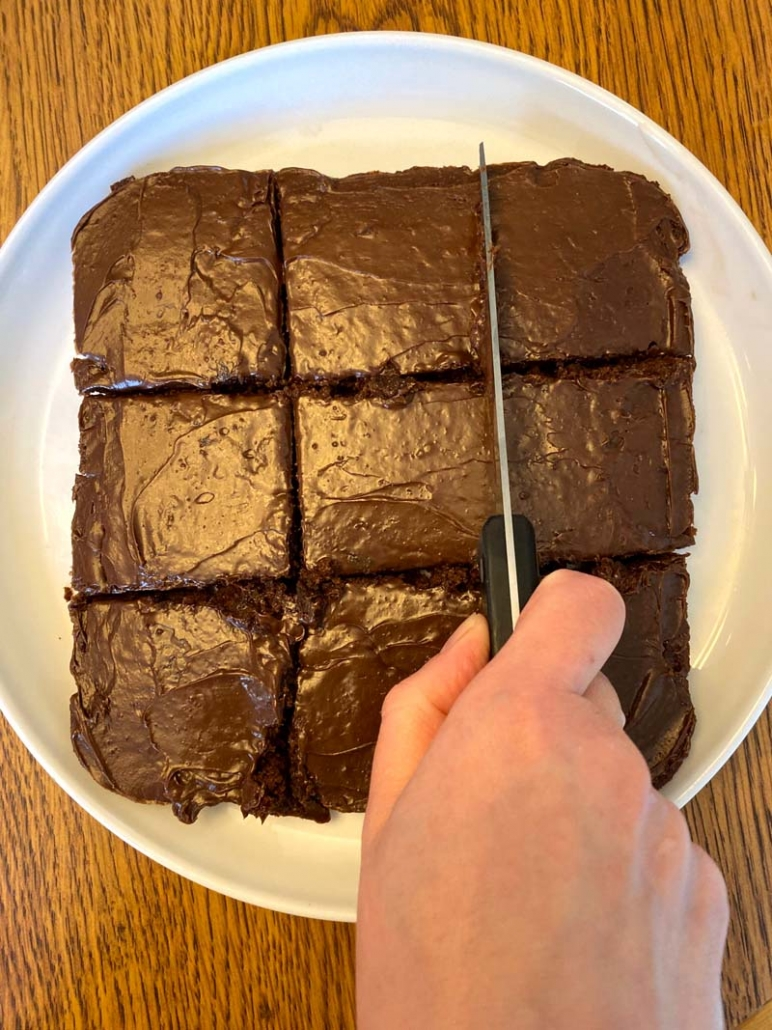 cut brownies into squares