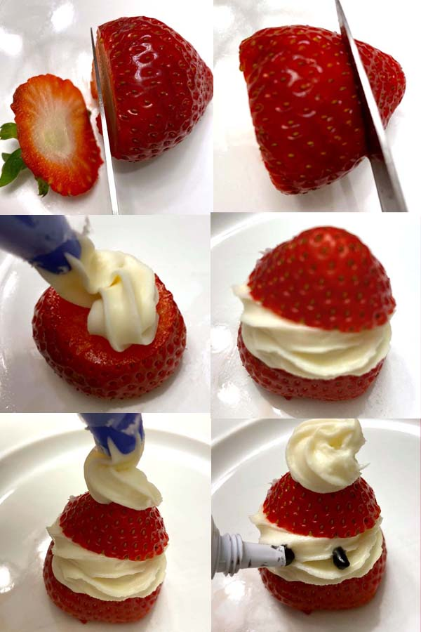 strawberry santas with whipped cream christmas dessert