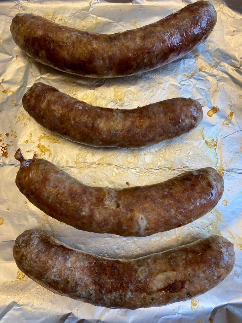 boiled italian sausages roasted on a sheet pan