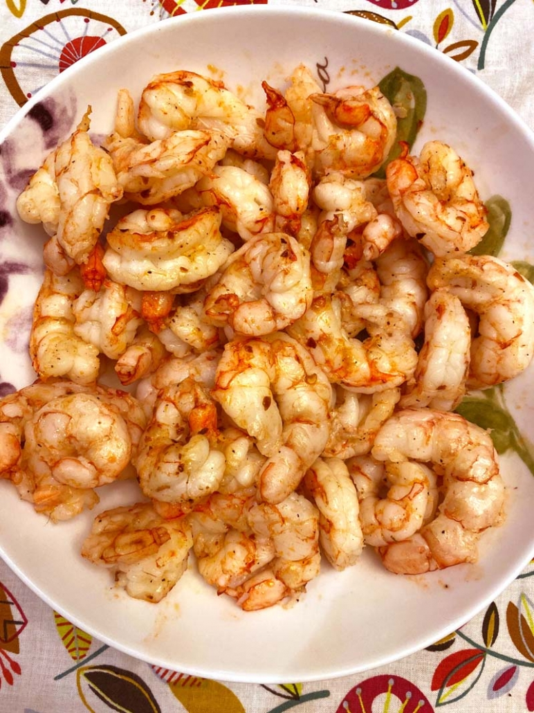 cooked shrimp in a white bowl