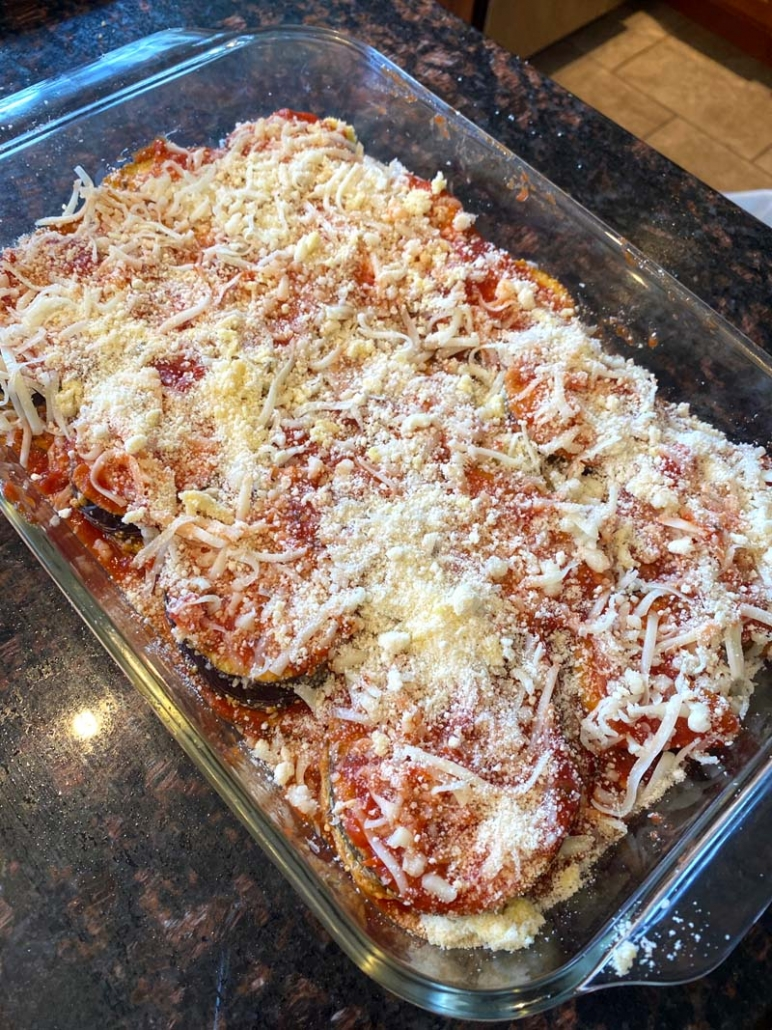 Eggplant parmesan before it goes in the oven