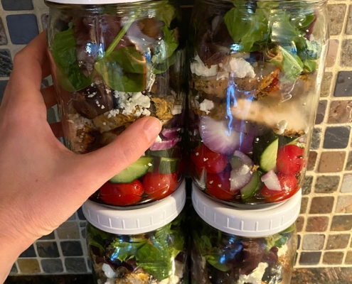 Greek Chicken Mason Jar Salad Meal Prep Recipe